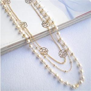 2020 heiße Art und Weise mehrschichtige Halskette Rose Kupfer-Korn-Ketten-lange Statement wulstige Strang-Halsketten-Frauen-Strickjacke-Ketten Schmuck