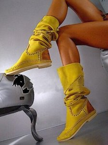 Moda Sarı Kadınlar Düz Çizme Stretch Perçinler Stud Diz Yüksek Boots Yüksek Kaliteli Kış Uzun Boot Artı boyutu 10 Özelleştirilmiş