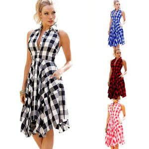 Plaid Mulheres Desigenr Vestidos Casual Halter plissadas mangas assimétricas shirt Vestidos Moda feminina Roupas