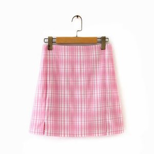 Ms XC1700 European and American wind new skirt pink plaid skirts Y200704