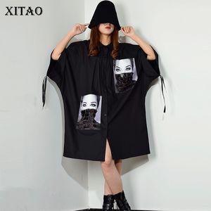[Xitao] Pailletten-Druck-Muster Plus Size Kleid Umlegekragen Patchwork Einreiher Frauk 2019 New XJ1509 T200623