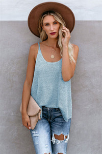 Summer Womens Knitted Camisole Contrast Color Solid Color Womens Comfortable Sling Tanks Loose Females Tops