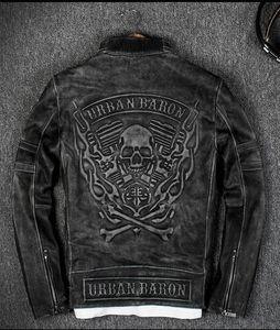 Vintage Siyah 3D Alev Kafatası Desen Geri Erkekler Yarış Deri Ceketler 100% Hakiki Deri Motosiklet Ceketler