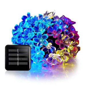 Wholesale -50 Leds 7m Peach Sakura Flower Solar Lamp Power Led String Fairy Lights Solar Garlands Garden Christmas Decor For Outdoor