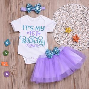 """""""É meu primeiro aniversário"""" INS verão little girls roupas conjuntos de roupas bebê meninas lantejoulas arcos headbands carta macacão tutus tutus saias"""