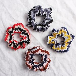 Sawtooth Scrunchies Streç Scrunchie Kadın Elastik Saç Bantları Kız Şapkalar Baskılı At Kuyruğu Tutucu Çizgili Haar Accessoires