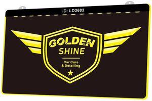 Talep Çoklu Renk Yeni 3D Gravür LED Işık İşaret Özelleştir Detailing LD3683 Golden Shine Araç Bakımı
