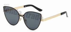 Promoción Nuevo Gato Gafas de sol Mujer Diseñador de la marca Verde Negro Marrón Color Moda Marco Gafas de sol Gato de metal Gafas de sol sin marco 10PCS