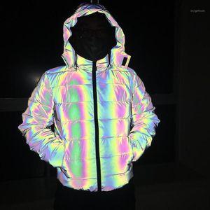 Reflet d'hiver coton épais manteau hommes réfléchissant la lumière colorée imperméable coupe-vent chaud Thicken Gardez Pardessus à capuchon jacket1