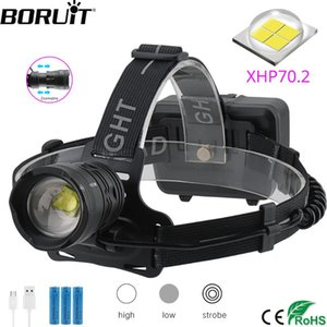 BORUiT XHP70.2 LED Headlamp 3-Mode Zoom Headlight 5000LM Super Bright Head Torch 18650 Rechargeable Camping Hunting