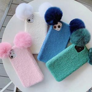 Cas Fluffy Sheep 3D pour l'iPhone 11 Pro Max XR XS Max X 7 8 6 Plus Hair Fur Cute Girl Cartoon doux TPU Retour Téléphone cellulaire couvre fashoin luxe