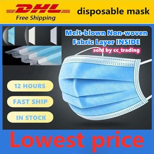 Lowest price!In stock! DHL FedEx UPS Free shipping! top quality Disposable Face Mask 3-Layer Masks Melt-blown non-woven fabric layer INSIDE