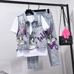 Estilo europeu Buraco Jeans Set Womens Two Piece Conjuntos Primavera Verão Roupas Novo Colete Casaco + Sete Pontos Denim Calças Meninas estudantes