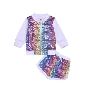 chifuna New Fashion Rainbow Letter Sport Sets T-shirt+shorts Baby Boutique Toddler Summer Outfit Little Girls Clothes For Boy CY200516