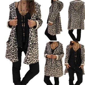 Womens Leopard Hooded Long Coat Jacket Ladies Autumn Cardigan Hoodies Outwear