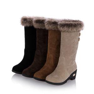 Winter Chunky Heels Boots Women Buckle Round Toe Zip Fashion Female Motorcycle Boots Flock Platform Shoes Women