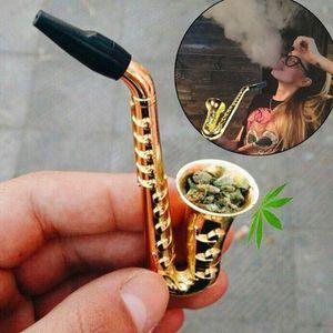 Mükemmel Kalite sigara boru Mini Saksafon Trompet şekli Metal alüminyum Tütün Borular Yenilik öğeleri Hediye JXW577