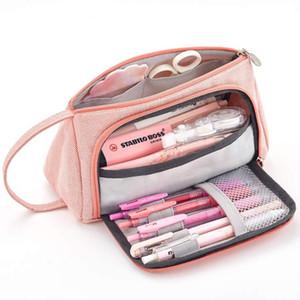 Dihope New Super gran capacidad Maquillaje Bolsa pluma de la caja de la caja fuentes de escuela lápiz de la escuela bolsa de la bolsa de papelería Lápices