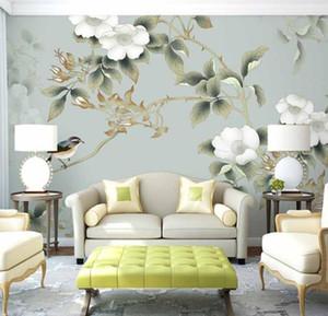 Современные 3d обои Home Decor исследование фоне стены ресторана бумажная коробка ручная роспись цветы и птицы большая фреска настройки