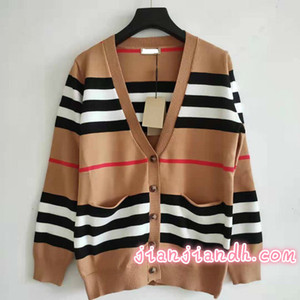 2019 abrigo de lana principios de otoño chaqueta de punto flojo femenino de la primavera británica retro damas temperamento suéter a rayas femenina 82020