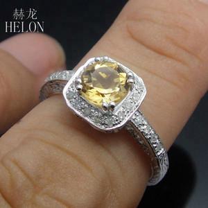 Anillo de bodas de la joyería Hélon 925 Mujeres Sterling 1 ct diamantes naturales citrino reales antigüedad del anillo de compromiso de la vendimia afiligranada