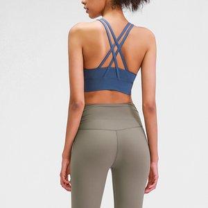 LU-68-ZORUNDADIR 2- Kat Çapraz Yoga Egzersiz Spor Sütyen Kadınlar Çıplak hissi Gym Fitness Brassiere Running Up itin Darbeye Tops