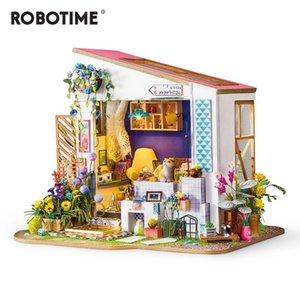 شرفة مغطاة Robotime جديد DIY ليلى مع أثاث الأطفال الكبار مصغرة خشبي بيت الدمية بناء نموذج مجموعات دمية لعبة DG11 Y200704