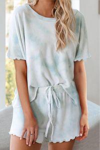 Освобождаю для пижамы Tiedye для женщин Crew Neck Tie Dye Pajama Коротких наборов Tie Dye Пижама Цветочных печати Ночного Bwkf Hot
