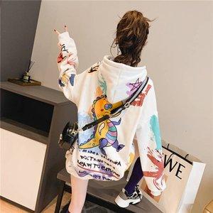2020 Kawaii Harajuku Japanese Sweatshirt Women Autumn Dragon Print Hoodies Long Sleeve Pullover Loose Jumper Hoodie Females Y200706