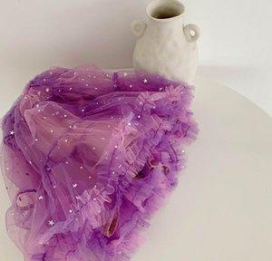 Bebek Kız Kabarık Etek Pullarda Gazlı bez Glitter Sevimli Elbise Bebek Giyim 2-7Years LX006 için Starry Sky Kız Etek