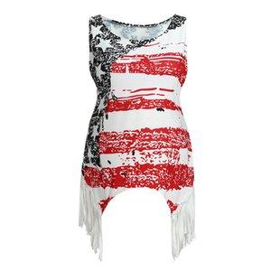 Nursing Top Donne senza maniche US Flag Estate Stampa maglia casuale maglietta bianca Tees incinta vestiti di maternità Ropa embarazada 19May