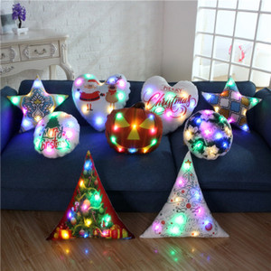 Fundas de almohada luminosa con luz LED Funda de cojín Navidad Navidad Navidad Papá Noel Reno Funda de almohada Sofá Decoración de coche EEA241