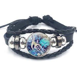 Musical Instrument Piano Guitar Clarinet Flute Music Leather Bangle Bracelet Music Note Jewelry for Women Men