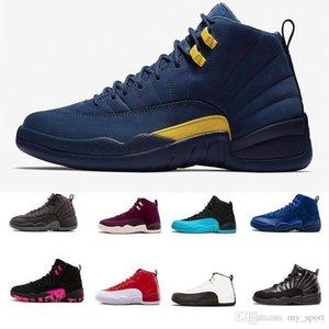 Neue 12 Pe Michigan PSny Navy Blue Suede 12s Mens-Basketball-Schuh-Turnschuh-Frauen Gs Hyper Lemonade Designer Jumpman Trainer Schuhe
