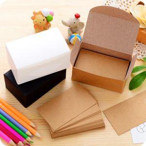 Aucun 100pcs Double Kraft Papier Kraft Blanc Cartes De Visite Carte Word Message Carte DIY Cadeau