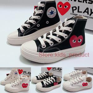 Marke All-Star der 70er Jahre Hallo C-D-G PLAY Kindersegeltuch-Schuhe 2020 Mädchen Jungen Schuhe Weiß Schwarz Hohe Baby-Kleinkind-beiläufige Turnschuh-Größe 23-35