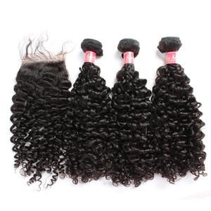 Bella Hair® Bundles cheveux avec fermeture Brésil Virgin Curly Human Hair Tissages Extensions Couleur naturelle julienchina