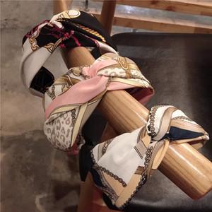 Stampa Fascia Seta Tessuti di seta Cross Knot Fascia Donne Girls Hair Head Head Bands Accessori per ragazze