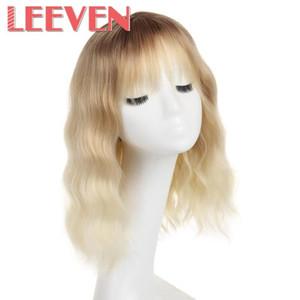 """Leeven 12"""" sintético Encanto de corto ondulado muchacha de las mujeres de la peluca con Air Bangs pelucas cosplay bob peluca de colores pastel rosa de la muchacha rubia"""