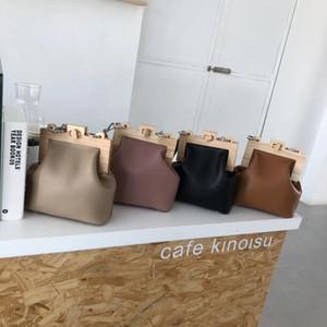 Новые женщины одно плечо Crossbody сумка Все-матч лоскут 2020 бренд дизайнер деревянный клип пакет цепи искусственная кожа сумка