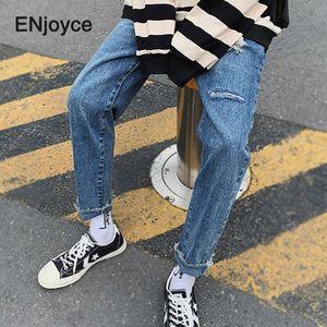 Koreanische Art zerrissene Jeans-Mann-Mode-Tooling Jean japanische Harajuku Street Boyfriend Jeans lose Overalls Male Hose