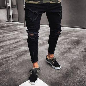Oeak Hommes Mode Skinny Détruite Denim Patch Crayon Pantalons Ripped Trou Slim Fit Zipper Jeans noir élastique