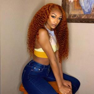 360 Frontal vorablaged Tiefwelle Ingwer Menschliches Haar 13x6 Spitze Frontperücken für Frauen Orange Curly Menschliches Haar Full Spitze Perücken Babyhaar