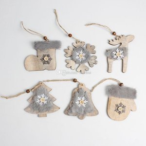 Wooden Christmas Embellishments Christmas Tree Pendant Rustic Xmas Tree Decorations Socks Hanging Pendant Christmas Decoration WX9-1745