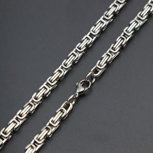 Mens Chain Double Film 4mm 5mm Silber Ton 316 Edelstahl Byzantinische Box Link Halskette Kette