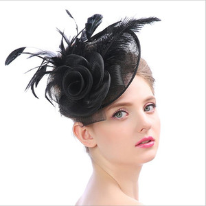 Cross-border Ladies Hats Spring and Summer Hot Linen Ostrich Wool Western Style Party Banquet Hat Head Accessories