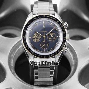 Nuevo Apolo 11 50 aniversario 310.20.42.50.01.001 VK Cronógrafo de cuarzo Reloj Hombre Dial Negro Pulsera de acero inoxidable Cronómetro E02A1