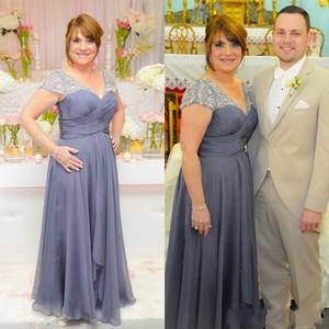 2019 زائد حجم الأم فساتين العروس الخامس الرقبة فساتين السهرة الرسمية طويلة مع مطرز قصيرة الأكمام الشيفون الأم اللباس
