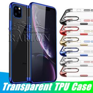Clear Case TPU Slim Fit silicone suave tampa transparente chapeamento Galvanoplastia Borda para o iPhone 11 Pro Max XS XR 8 Samsung s20 de ultra nota 10