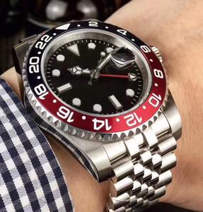 أسود GMT السيراميك مدي الميكانيكية رجالي الفولاذ المقاوم للصدأ الحركة التلقائية ووتش الرياضة الذاتي الرياح اليوبيل سيد ساعات المعصم